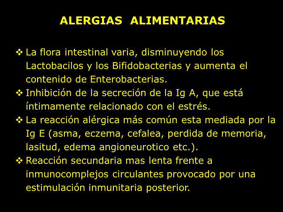 ALERGIAS ALIMENTARIAS La flora intestinal varia, disminuyendo los Lactobacilos y los Bifidobacterias y aumenta el contenido de Enterobacterias. Inhibi