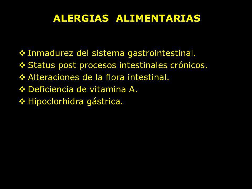 Inmadurez del sistema gastrointestinal. Status post procesos intestinales crónicos. Alteraciones de la flora intestinal. Deficiencia de vitamina A. Hi