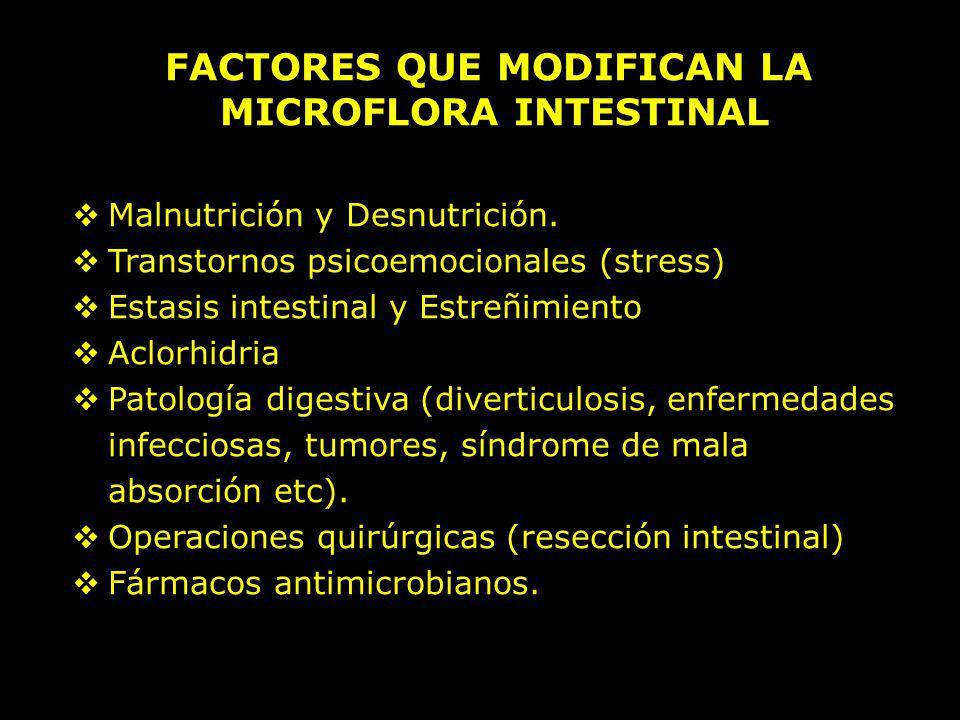 FACTORES QUE MODIFICAN LA MICROFLORA INTESTINAL Malnutrición y Desnutrición. Transtornos psicoemocionales (stress) Estasis intestinal y Estreñimiento