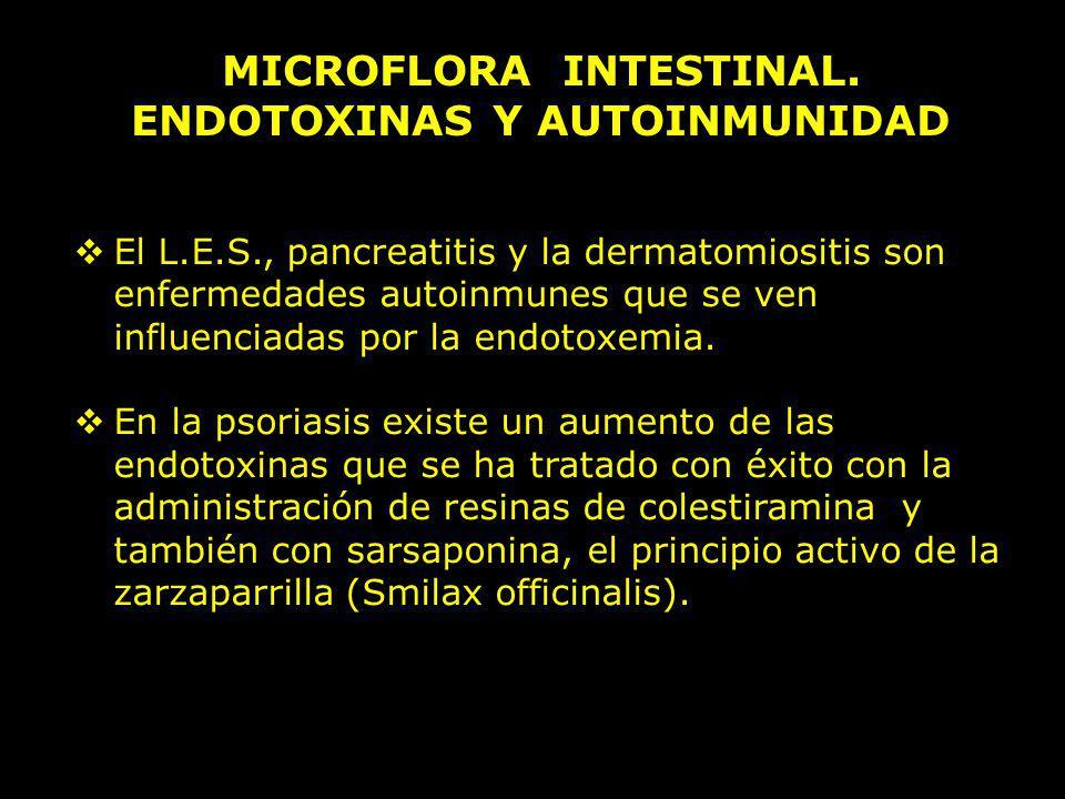 MICROFLORA INTESTINAL. ENDOTOXINAS Y AUTOINMUNIDAD El L.E.S., pancreatitis y la dermatomiositis son enfermedades autoinmunes que se ven influenciadas