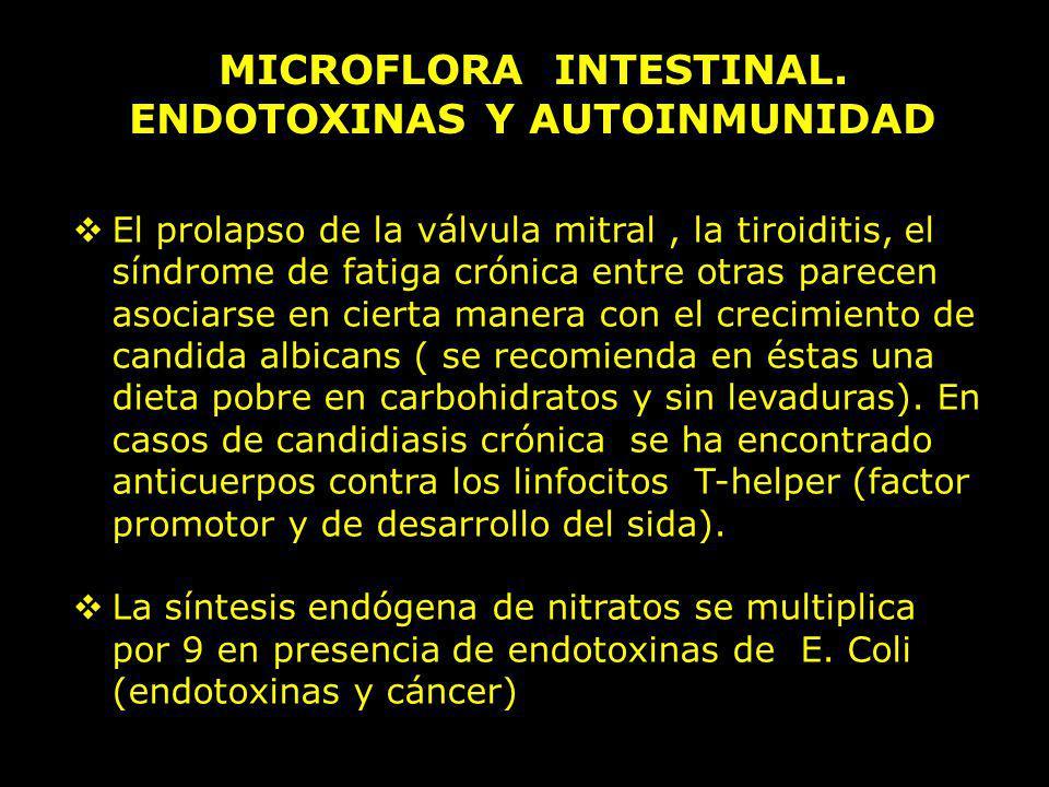 MICROFLORA INTESTINAL. ENDOTOXINAS Y AUTOINMUNIDAD El prolapso de la válvula mitral, la tiroiditis, el síndrome de fatiga crónica entre otras parecen