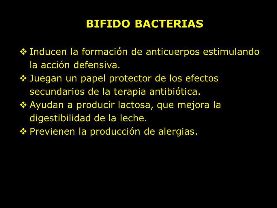 Inducen la formación de anticuerpos estimulando la acción defensiva. Juegan un papel protector de los efectos secundarios de la terapia antibiótica. A