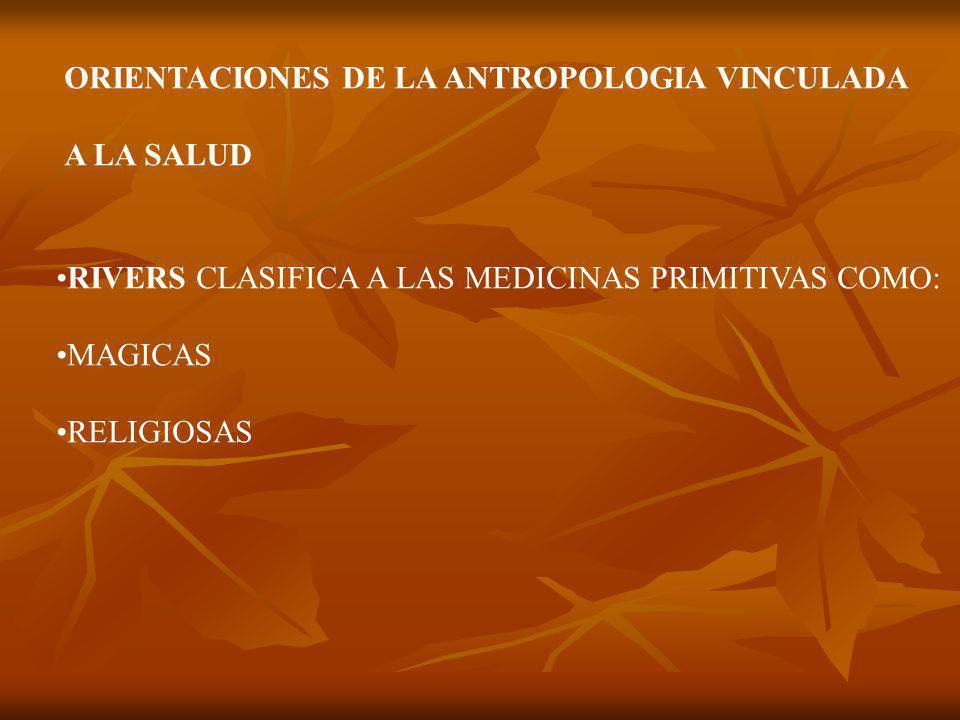 ORIENTACIONES DE LA ANTROPOLOGIA VINCULADA A LA SALUD RIVERS CLASIFICA A LAS MEDICINAS PRIMITIVAS COMO: MAGICAS RELIGIOSAS