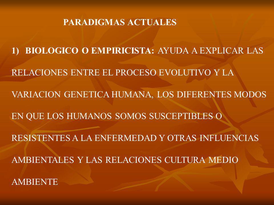 PARADIGMAS ACTUALES 1)BIOLOGICO O EMPIRICISTA: AYUDA A EXPLICAR LAS RELACIONES ENTRE EL PROCESO EVOLUTIVO Y LA VARIACION GENETICA HUMANA, LOS DIFERENTES MODOS EN QUE LOS HUMANOS SOMOS SUSCEPTIBLES O RESISTENTES A LA ENFERMEDAD Y OTRAS INFLUENCIAS AMBIENTALES Y LAS RELACIONES CULTURA MEDIO AMBIENTE