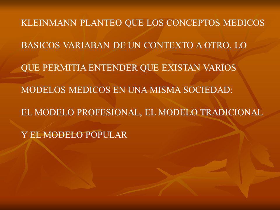 KLEINMANN PLANTEO QUE LOS CONCEPTOS MEDICOS BASICOS VARIABAN DE UN CONTEXTO A OTRO, LO QUE PERMITIA ENTENDER QUE EXISTAN VARIOS MODELOS MEDICOS EN UNA MISMA SOCIEDAD: EL MODELO PROFESIONAL, EL MODELO TRADICIONAL Y EL MODELO POPULAR