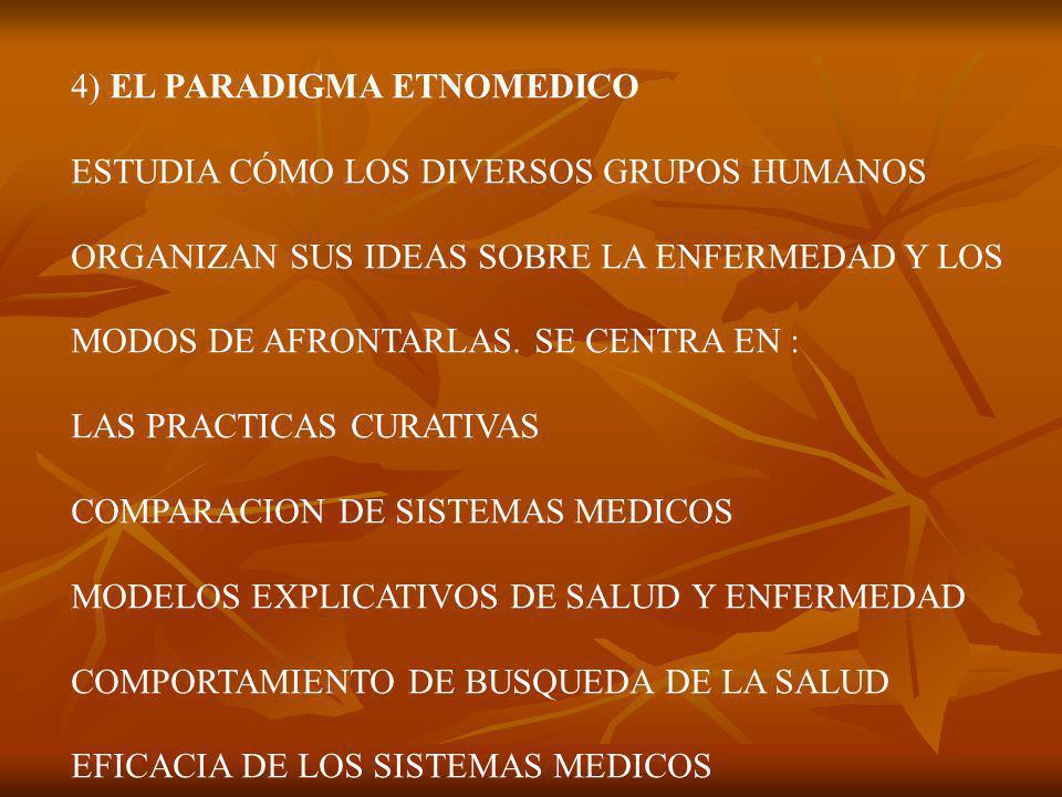 4) EL PARADIGMA ETNOMEDICO ESTUDIA CÓMO LOS DIVERSOS GRUPOS HUMANOS ORGANIZAN SUS IDEAS SOBRE LA ENFERMEDAD Y LOS MODOS DE AFRONTARLAS.