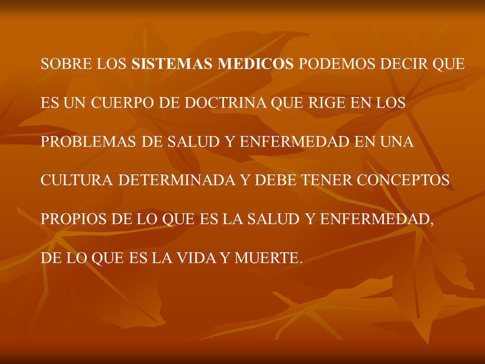 SOBRE LOS SISTEMAS MEDICOS PODEMOS DECIR QUE ES UN CUERPO DE DOCTRINA QUE RIGE EN LOS PROBLEMAS DE SALUD Y ENFERMEDAD EN UNA CULTURA DETERMINADA Y DEBE TENER CONCEPTOS PROPIOS DE LO QUE ES LA SALUD Y ENFERMEDAD, DE LO QUE ES LA VIDA Y MUERTE.