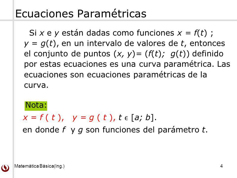 Matemática Básica(Ing.)4 Si x e y están dadas como funciones x = f(t) ; y = g(t), en un intervalo de valores de t, entonces el conjunto de puntos (x,