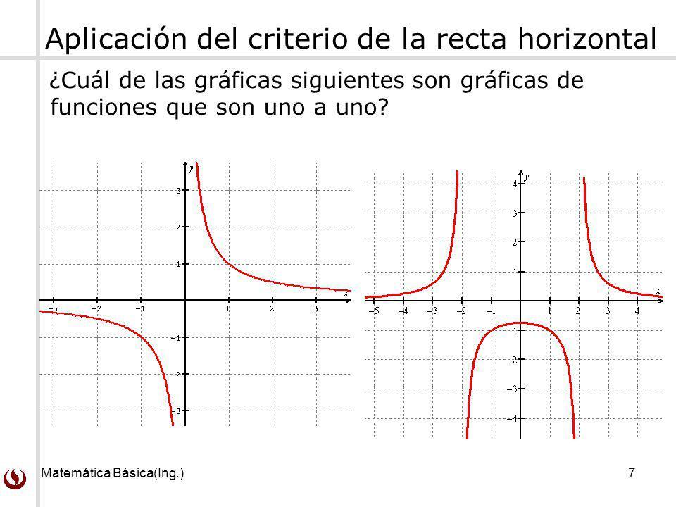 Matemática Básica(Ing.)7 Aplicación del criterio de la recta horizontal ¿Cuál de las gráficas siguientes son gráficas de funciones que son uno a uno?