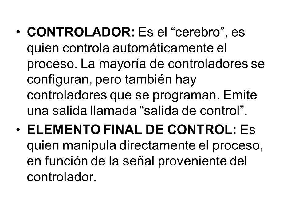 CONTROLADOR: Es el cerebro, es quien controla automáticamente el proceso. La mayoría de controladores se configuran, pero también hay controladores qu