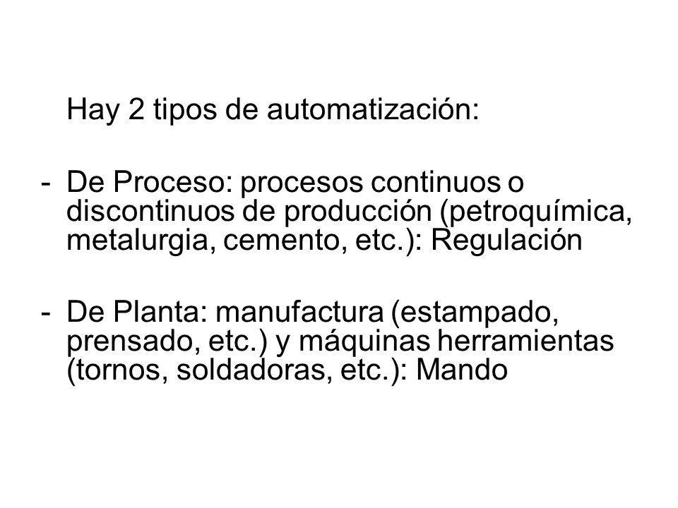 Hay 2 tipos de automatización: -De Proceso: procesos continuos o discontinuos de producción (petroquímica, metalurgia, cemento, etc.): Regulación -De
