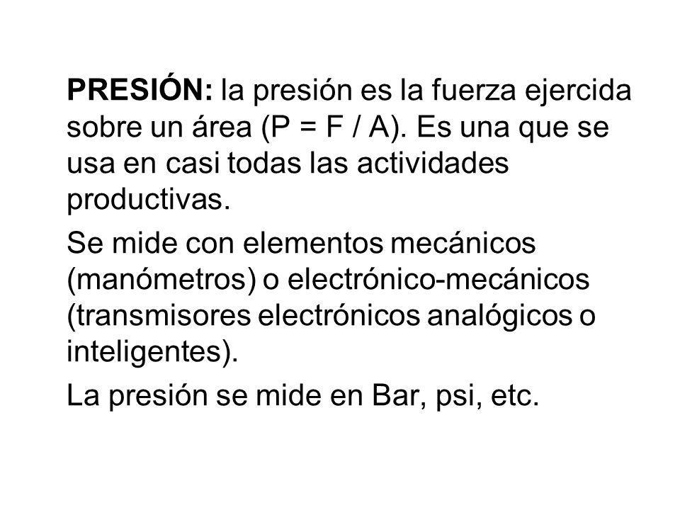 PRESIÓN: la presión es la fuerza ejercida sobre un área (P = F / A). Es una que se usa en casi todas las actividades productivas. Se mide con elemento