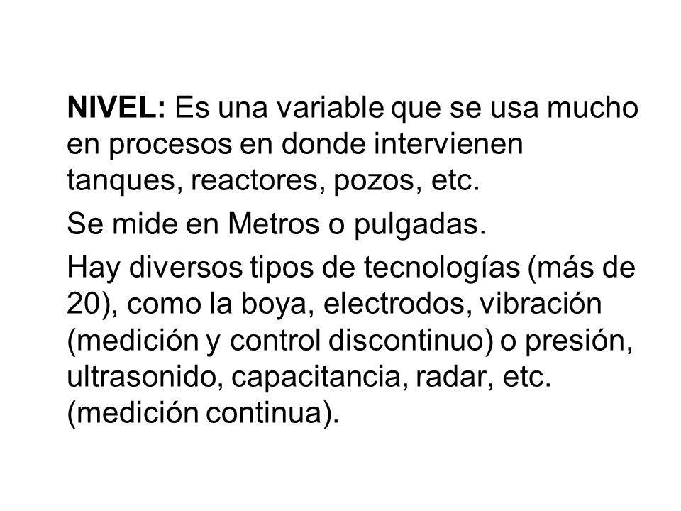 NIVEL: Es una variable que se usa mucho en procesos en donde intervienen tanques, reactores, pozos, etc. Se mide en Metros o pulgadas. Hay diversos ti