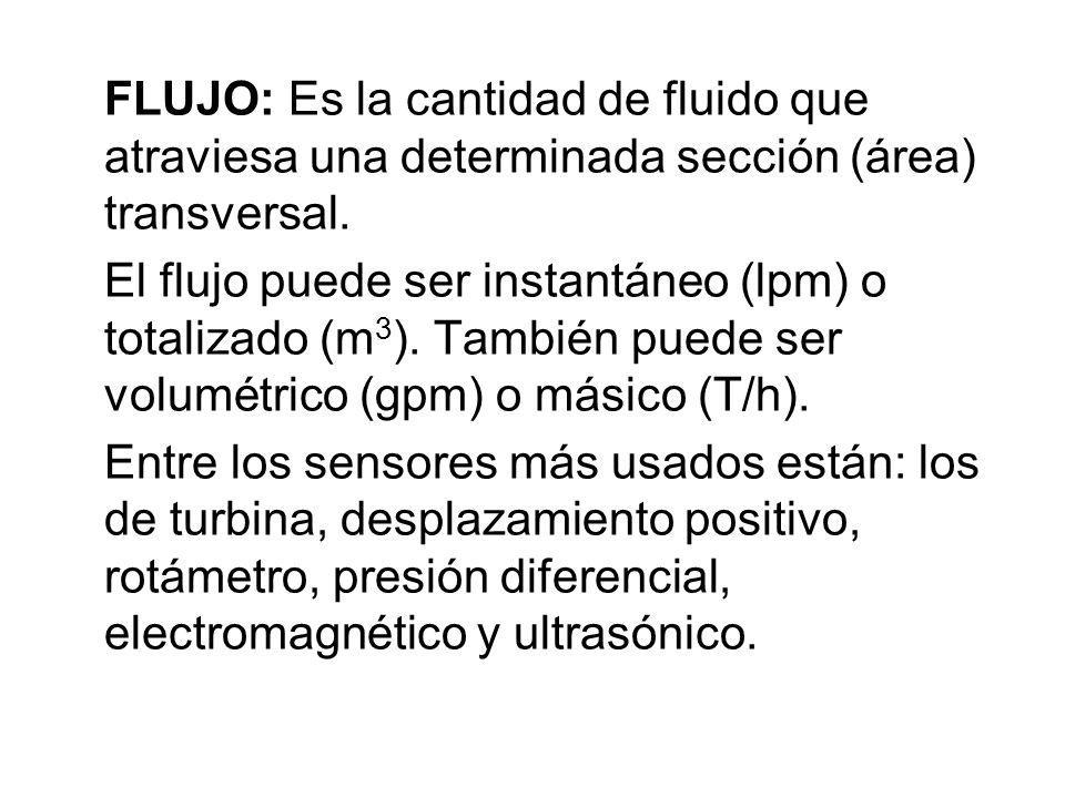FLUJO: Es la cantidad de fluido que atraviesa una determinada sección (área) transversal. El flujo puede ser instantáneo (lpm) o totalizado (m 3 ). Ta