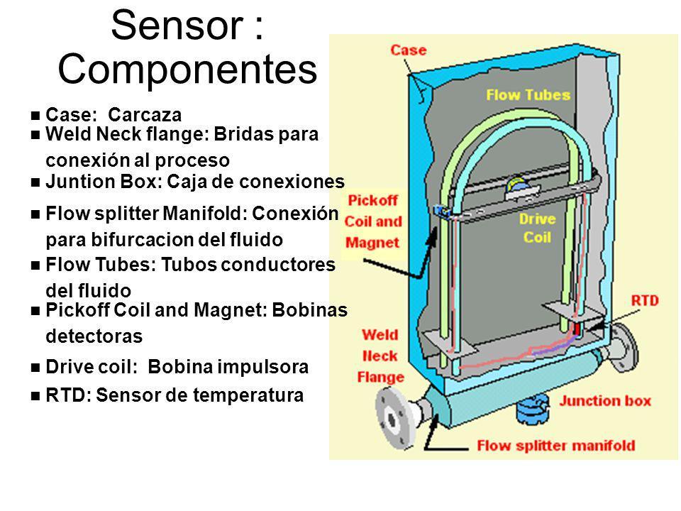 Sensor : Componentes n Case: Carcaza n Weld Neck flange: Bridas para conexión al proceso n Juntion Box: Caja de conexiones n Flow splitter Manifold: C
