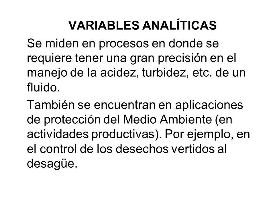 VARIABLES ANALÍTICAS Se miden en procesos en donde se requiere tener una gran precisión en el manejo de la acidez, turbidez, etc. de un fluido. Tambié