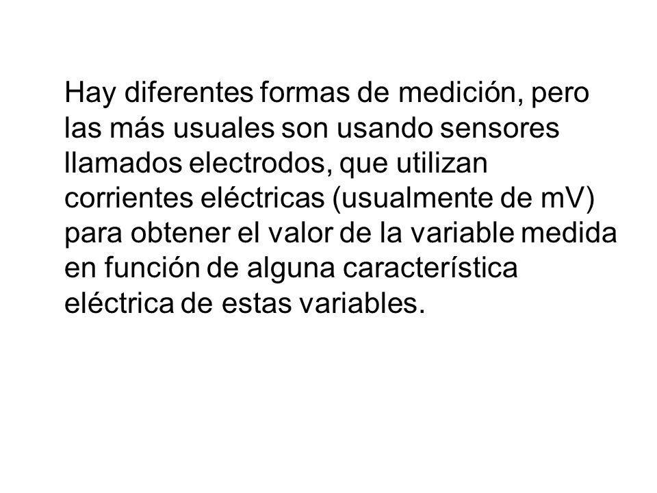 Hay diferentes formas de medición, pero las más usuales son usando sensores llamados electrodos, que utilizan corrientes eléctricas (usualmente de mV)