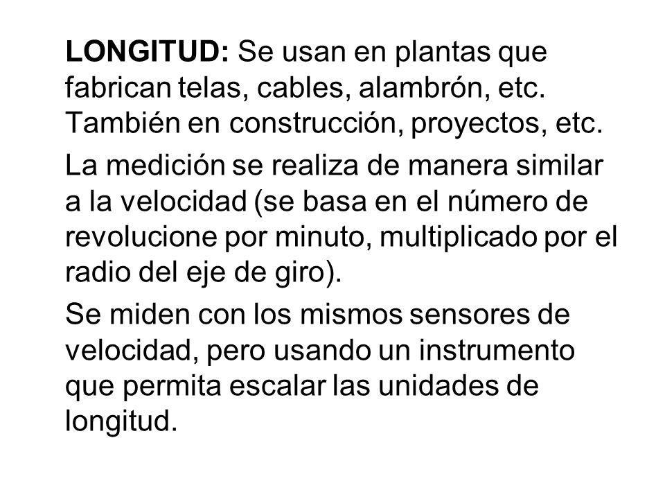 LONGITUD: Se usan en plantas que fabrican telas, cables, alambrón, etc. También en construcción, proyectos, etc. La medición se realiza de manera simi