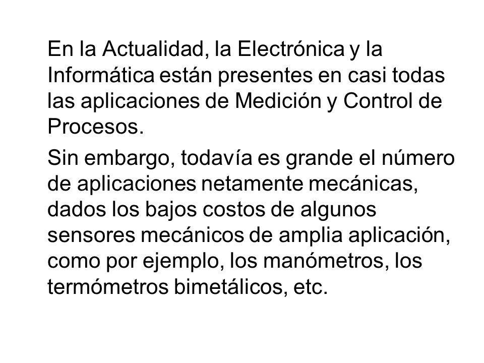 En la Actualidad, la Electrónica y la Informática están presentes en casi todas las aplicaciones de Medición y Control de Procesos. Sin embargo, todav