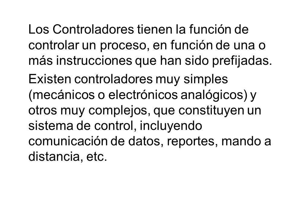 Los Controladores tienen la función de controlar un proceso, en función de una o más instrucciones que han sido prefijadas. Existen controladores muy