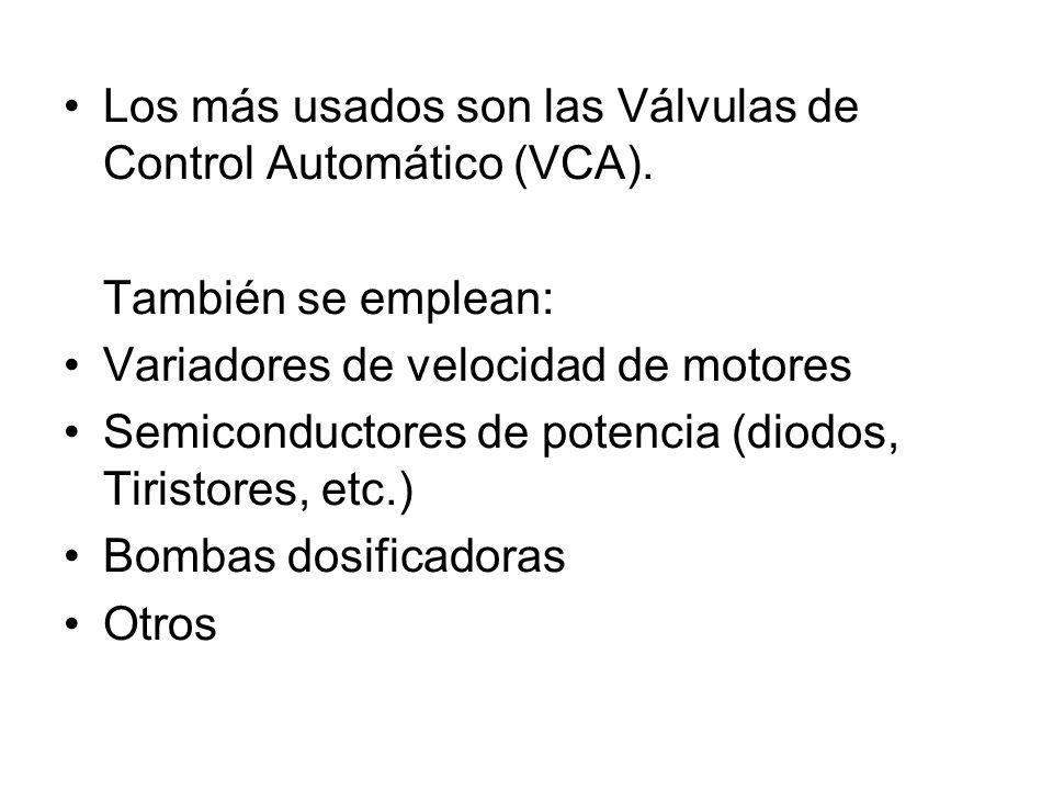 Los más usados son las Válvulas de Control Automático (VCA). También se emplean: Variadores de velocidad de motores Semiconductores de potencia (diodo