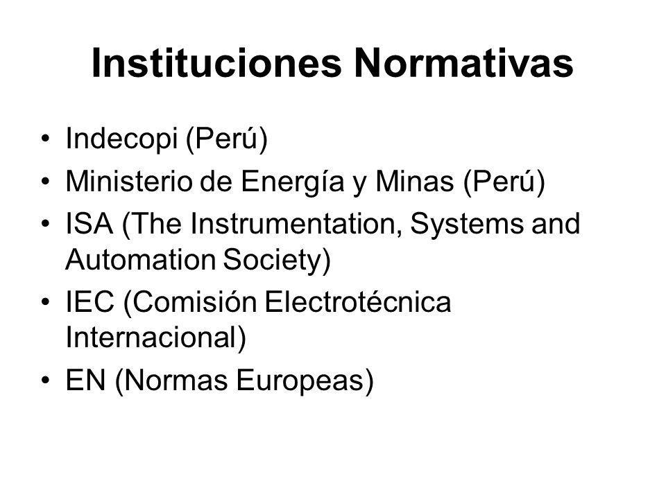 Instituciones Normativas Indecopi (Perú) Ministerio de Energía y Minas (Perú) ISA (The Instrumentation, Systems and Automation Society) IEC (Comisión