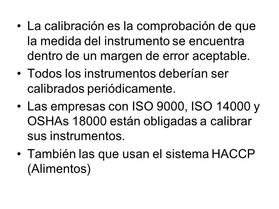 La calibración es la comprobación de que la medida del instrumento se encuentra dentro de un margen de error aceptable. Todos los instrumentos debería