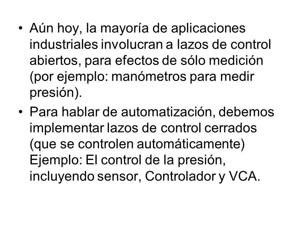 Aún hoy, la mayoría de aplicaciones industriales involucran a lazos de control abiertos, para efectos de sólo medición (por ejemplo: manómetros para m