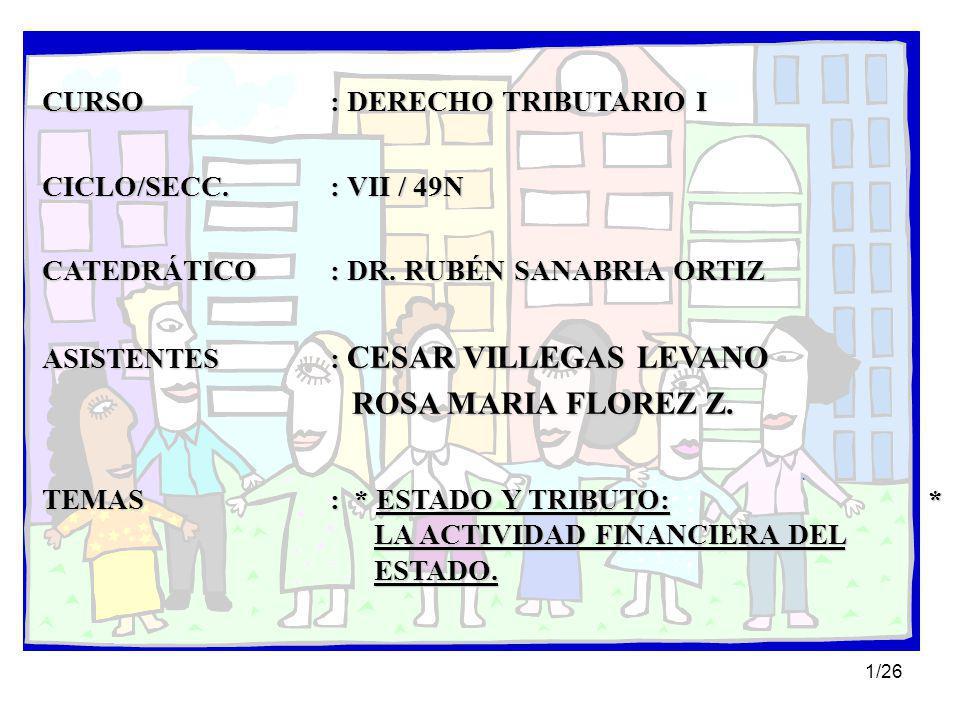 1/26 CURSO: DERECHO TRIBUTARIO I CICLO/SECC.: VII / 49N CATEDRÁTICO: DR.