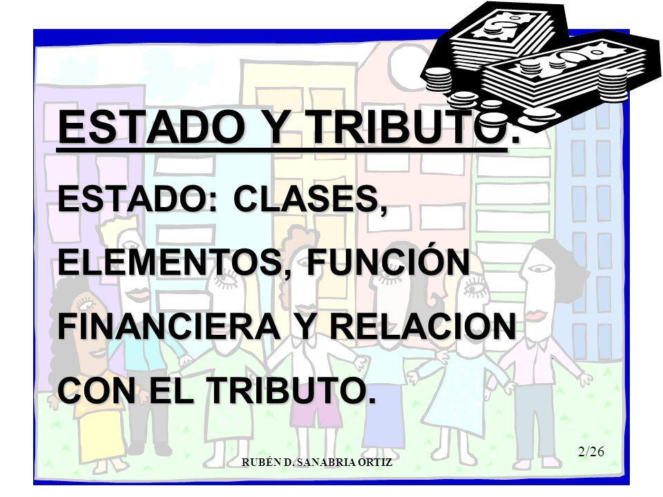 2/26 ESTADO Y TRIBUTO: ESTADO: CLASES, ELEMENTOS, FUNCIÓN FINANCIERA Y RELACION CON EL TRIBUTO.
