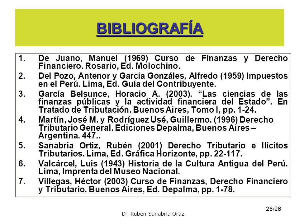 25/26 LECTURAS SUGERIDAS 1.Sanabria Ortiz, Rubén (2001) Derecho Tributario e Ilícitos Tributarios. 5ta edición. Editorial Gráfica Horizonte. Lima. Lec