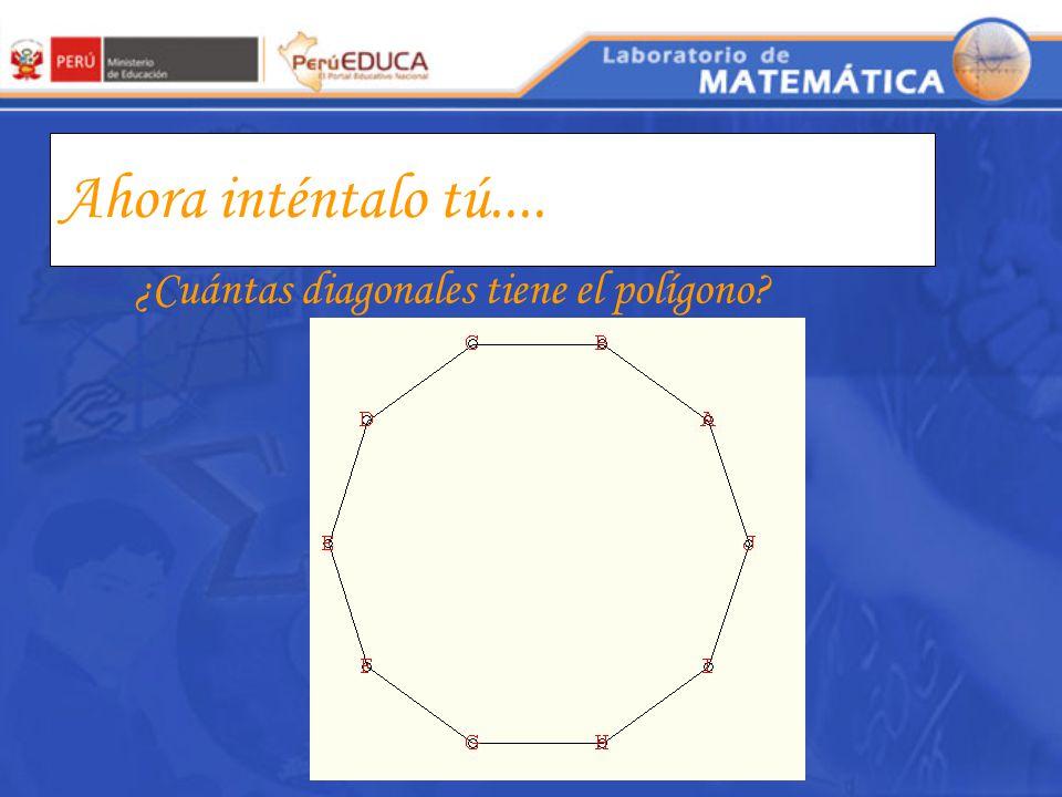 Completa la tabla Número de lados del Polígono Total de diagonales 4567n4567n ¿Qué relación existe entre el número de lados del un polígono y su númer