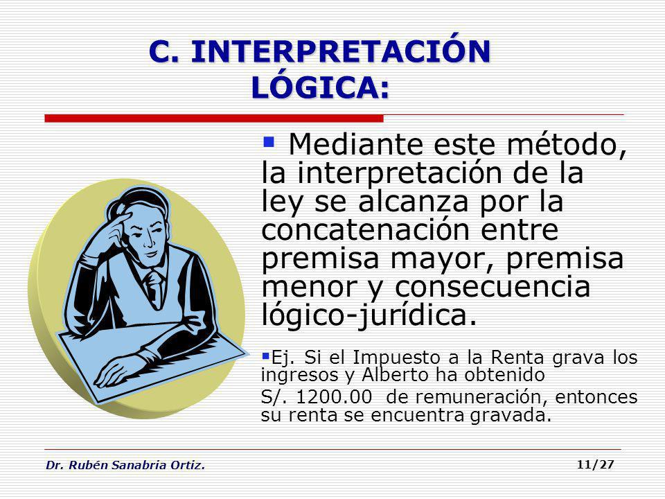 Dr. Rubén Sanabria Ortiz. 11/27 Mediante este m é todo, la interpretaci ó n de la ley se alcanza por la concatenaci ó n entre premisa mayor, premisa m