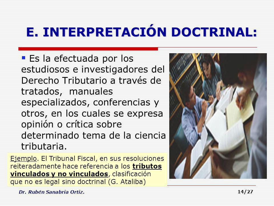 Dr. Rubén Sanabria Ortiz. 14/27 Es la efectuada por los estudiosos e investigadores del Derecho Tributario a trav é s de tratados, manuales especializ