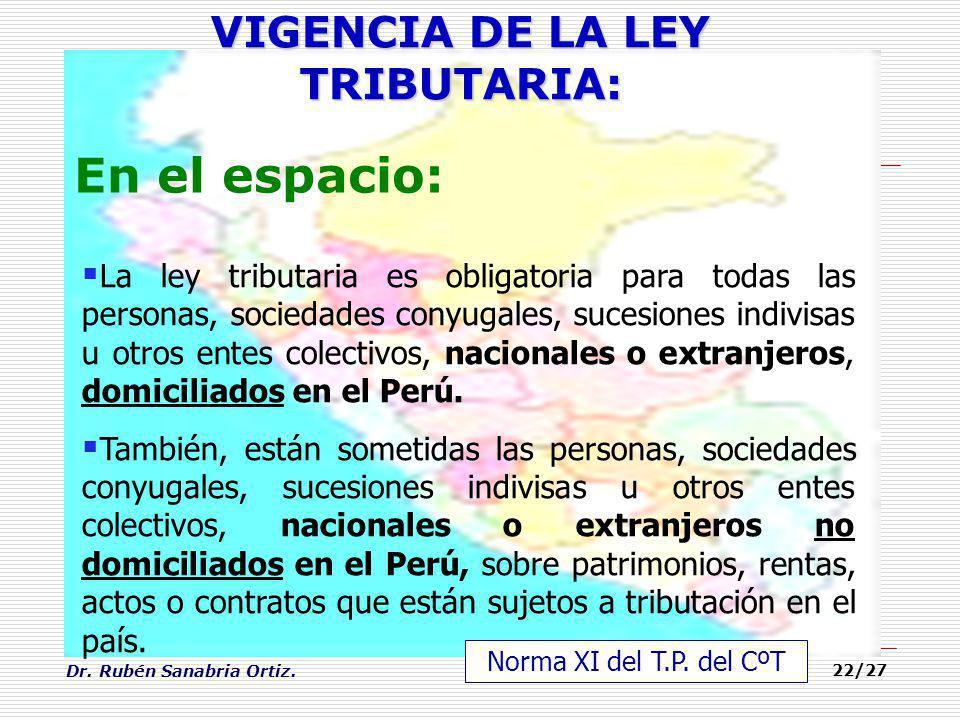 Dr. Rubén Sanabria Ortiz. 22/27 En el espacio: VIGENCIA DE LA LEY TRIBUTARIA: La ley tributaria es obligatoria para todas las personas, sociedades con