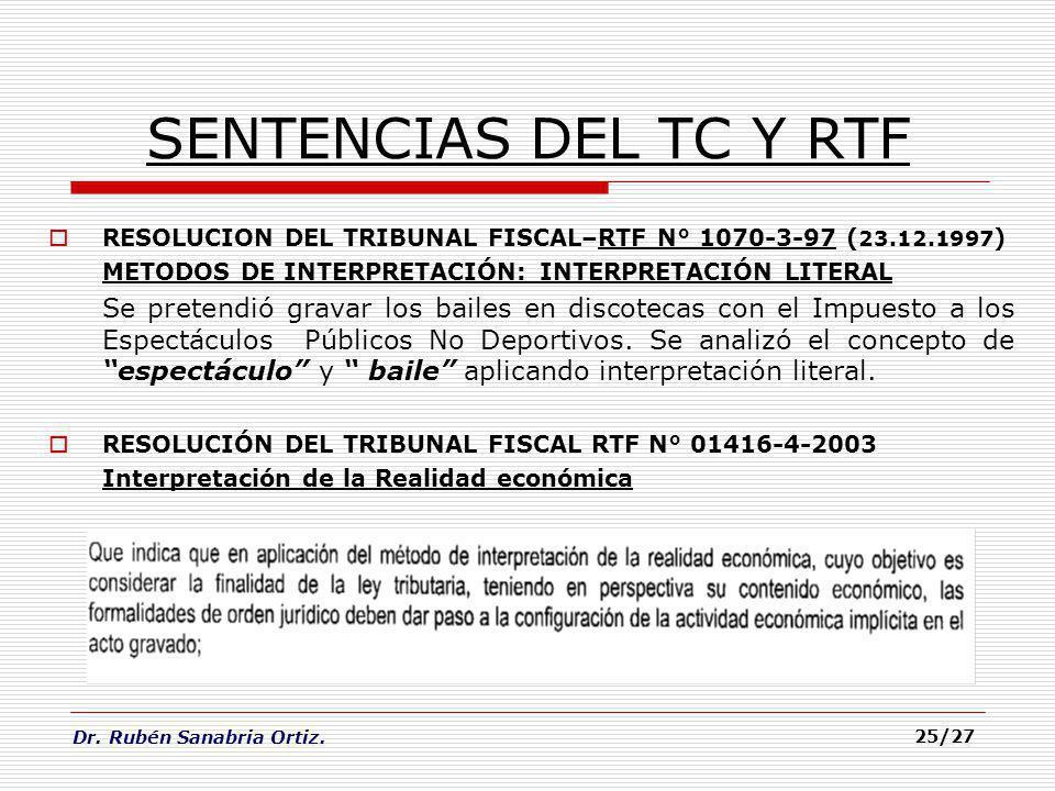 Dr. Rubén Sanabria Ortiz. 25/27 SENTENCIAS DEL TC Y RTF RESOLUCION DEL TRIBUNAL FISCAL–RTF N° 1070-3-97 ( 23.12.1997 ) METODOS DE INTERPRETACIÓN: INTE