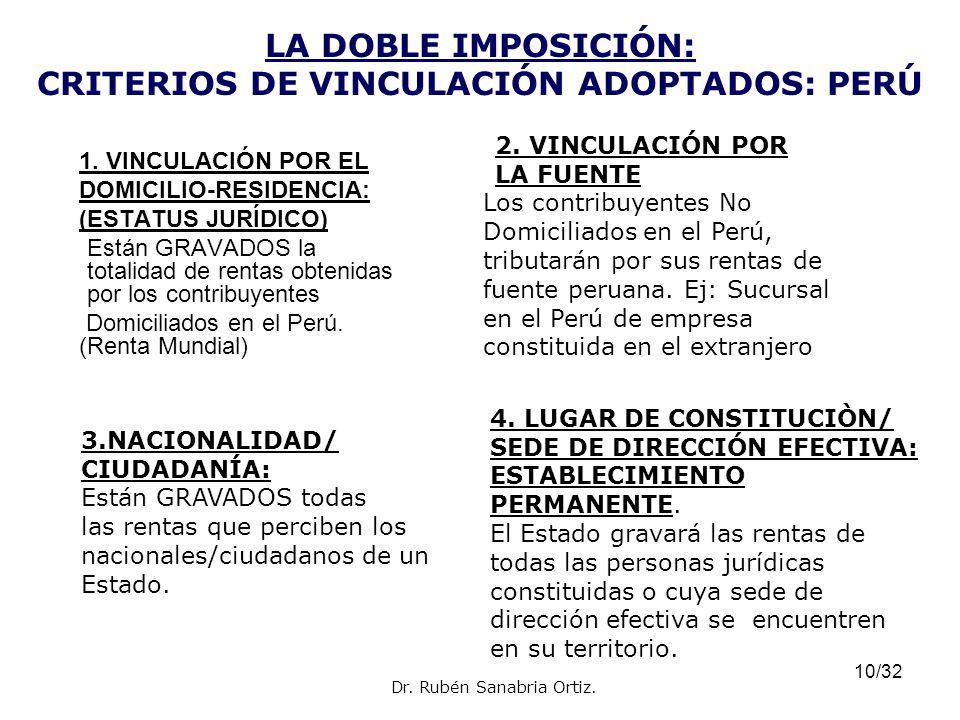 10/32 LA DOBLE IMPOSICIÓN: CRITERIOS DE VINCULACIÓN ADOPTADOS: PERÚ 1. VINCULACIÓN POR EL DOMICILIO-RESIDENCIA: (ESTATUS JURÍDICO) Están GRAVADOS la t