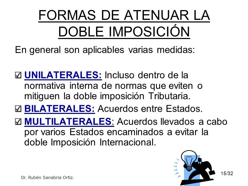 15/32 FORMAS DE ATENUAR LA DOBLE IMPOSICIÓN En general son aplicables varias medidas: UNILATERALES: Incluso dentro de la normativa interna de normas q