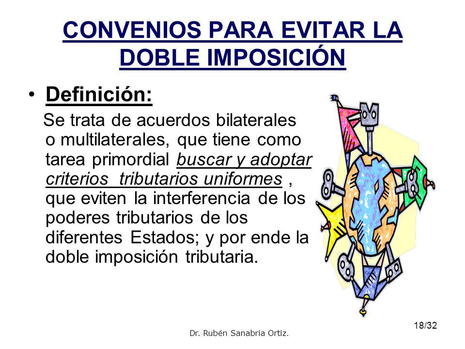 18/32 CONVENIOS PARA EVITAR LA DOBLE IMPOSICIÓN Definición: Se trata de acuerdos bilaterales o multilaterales, que tiene como tarea primordial buscar