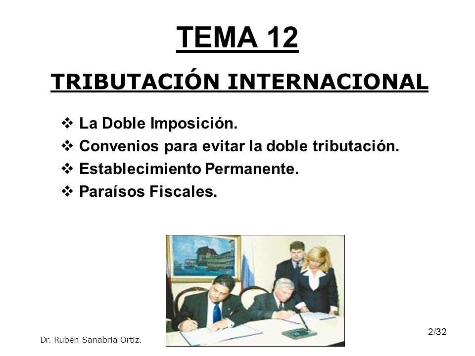 2/32 TEMA 12 La Doble Imposición. Convenios para evitar la doble tributación. Establecimiento Permanente. Paraísos Fiscales. TRIBUTACIÓN INTERNACIONAL