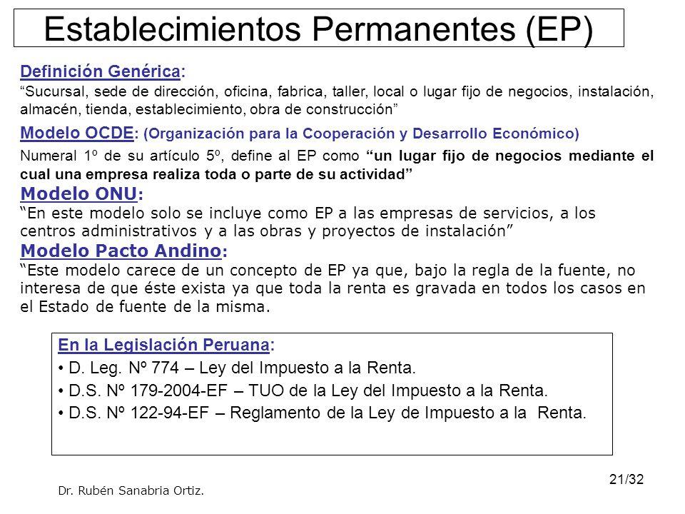 21/32 Establecimientos Permanentes (EP) Definición Genérica: Sucursal, sede de dirección, oficina, fabrica, taller, local o lugar fijo de negocios, in