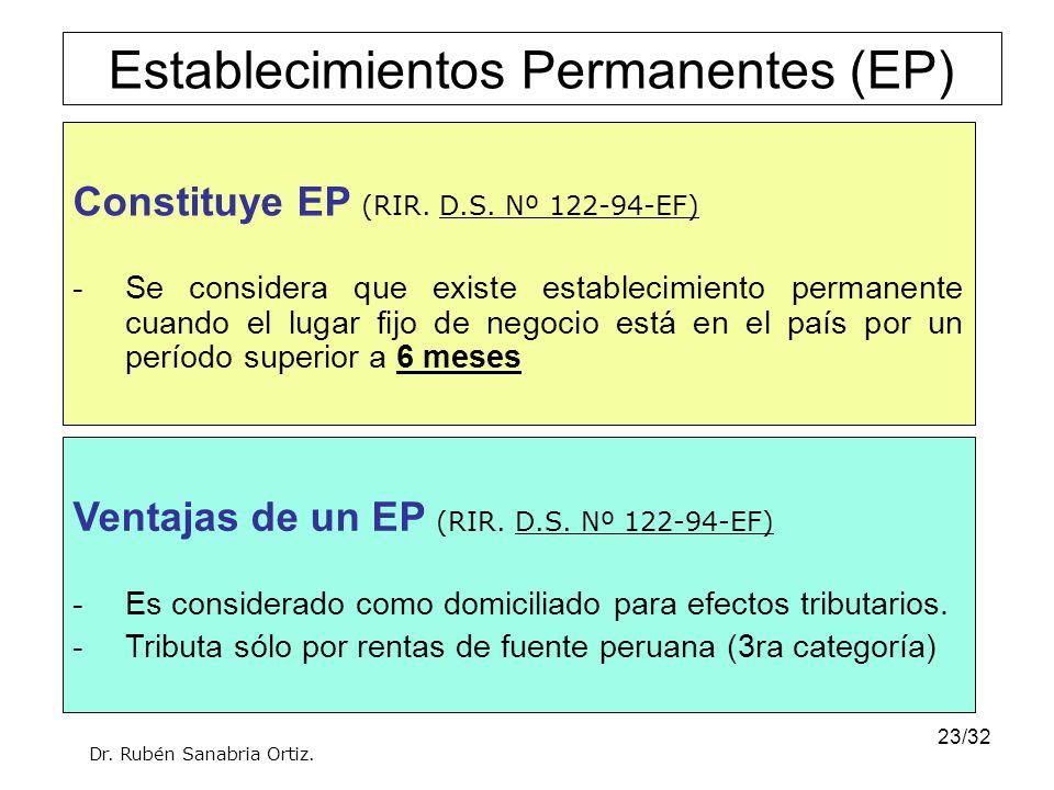23/32 Constituye EP (RIR. D.S. Nº 122-94-EF) -Se considera que existe establecimiento permanente cuando el lugar fijo de negocio está en el país por u