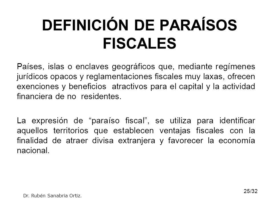 25/32 DEFINICIÓN DE PARAÍSOS FISCALES Países, islas o enclaves geográficos que, mediante regímenes jurídicos opacos y reglamentaciones fiscales muy la