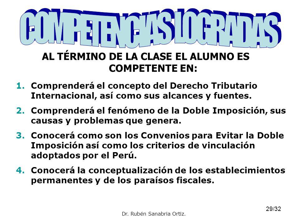 29/32 AL TÉRMINO DE LA CLASE EL ALUMNO ES COMPETENTE EN: Dr. Rubén Sanabria Ortiz. 1.Comprenderá el concepto del Derecho Tributario Internacional, así