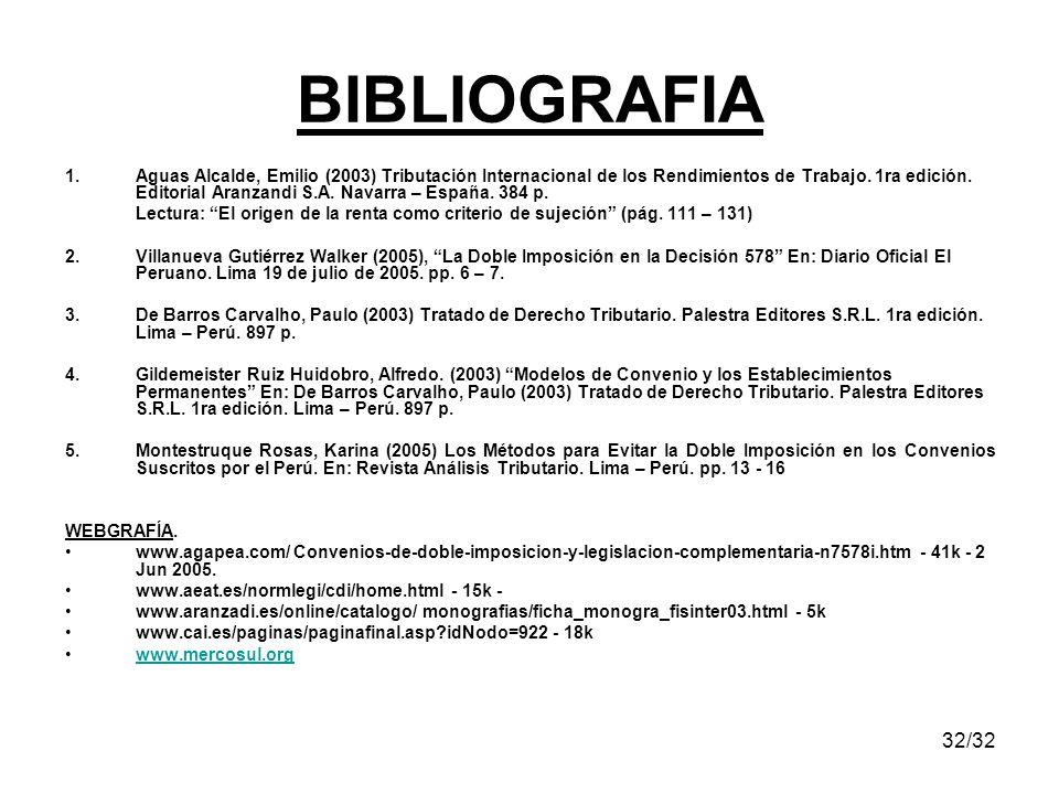 32/32 1.Aguas Alcalde, Emilio (2003) Tributación Internacional de los Rendimientos de Trabajo. 1ra edición. Editorial Aranzandi S.A. Navarra – España.