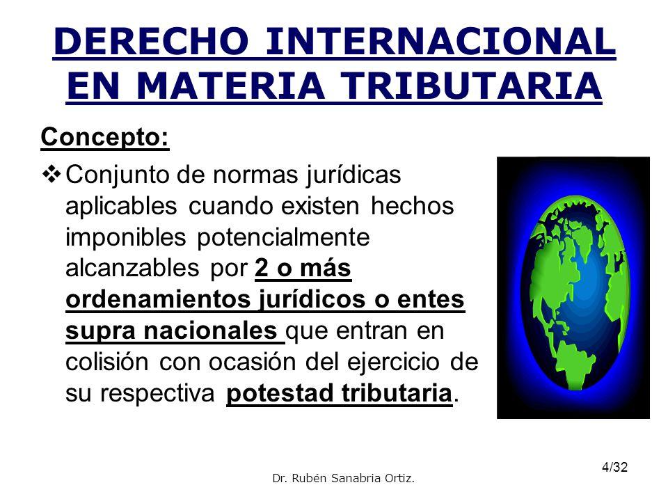 4/32 DERECHO INTERNACIONAL EN MATERIA TRIBUTARIA Concepto: Conjunto de normas jurídicas aplicables cuando existen hechos imponibles potencialmente alc