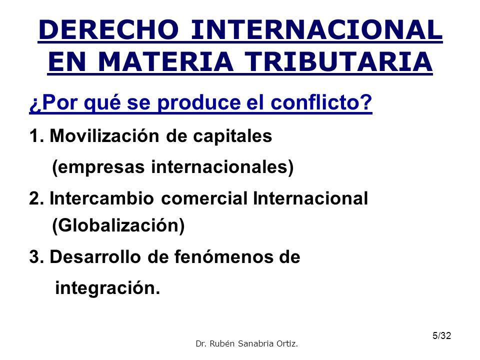 5/32 DERECHO INTERNACIONAL EN MATERIA TRIBUTARIA ¿Por qué se produce el conflicto? 1. Movilización de capitales (empresas internacionales) 2. Intercam