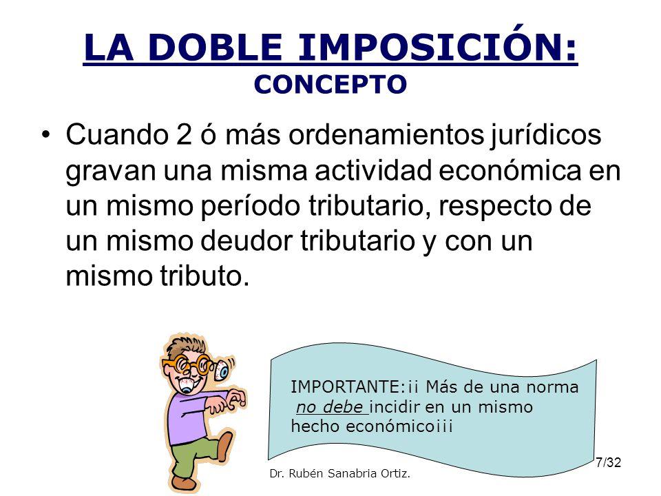 7/32 LA DOBLE IMPOSICIÓN: CONCEPTO Cuando 2 ó más ordenamientos jurídicos gravan una misma actividad económica en un mismo período tributario, respect