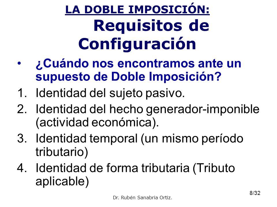 8/32 LA DOBLE IMPOSICIÓN: Requisitos de Configuración ¿Cuándo nos encontramos ante un supuesto de Doble Imposición? 1.Identidad del sujeto pasivo. 2.I