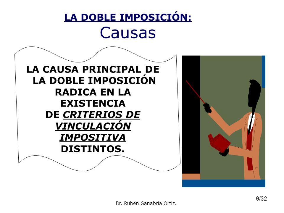 9/32 LA DOBLE IMPOSICIÓN: Causas LA CAUSA PRINCIPAL DE LA DOBLE IMPOSICIÓN RADICA EN LA EXISTENCIA DE CRITERIOS DE VINCULACIÓN IMPOSITIVA DISTINTOS. D
